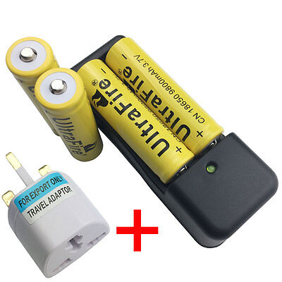 4X 18650 3.7V 9800mAh Li-ion Rechargeable Battery With 4.2V Charger+UK Adaptor
