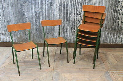 Retro Green Stacking Chairs Vintage Cafe Restaurant Chairs Large Quantity
