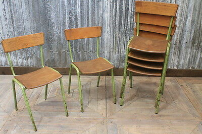 Vintage Stacking Chairs Retro Green Restaurant Cafe Chairs Large Quantity