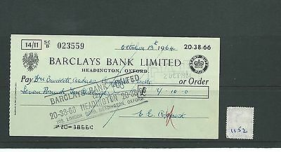 wbc. - CHEQUE - CH1152- USED -1964 - BARCLAYS BANK, HEADINGTON, OXFORD