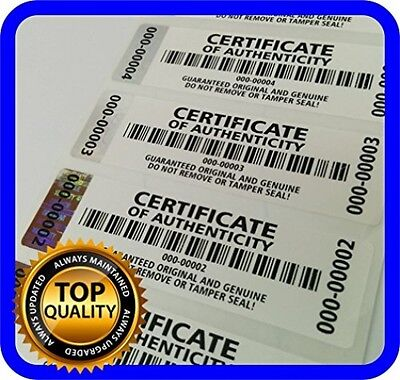 250 Certificate Of Authenticity Labels Security Stickers With Hologram Stripe X
