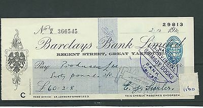wbc. - CHEQUE - CH1160- USED -1939 - BARCLAYS BANK, REGENT ST, GREAT YARMOUTH