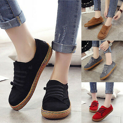 Women's Soft Suede Slip-on Straw Flats Loafers Students Casual Shoes New Fashion