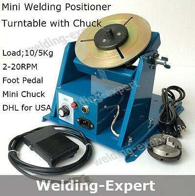 "110V Rotary Welding Positioner Turntable Mini 2.5"" 3 Jaw Lathe Chuck with Video"