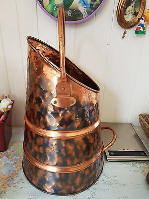 Antique Chinese Copper Large Scuttle; Two Toned Dappled Effect. Stunning! Unique