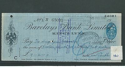 wbc. - CHEQUE - CH1167- USED -1942 - BARCLAYS BANK, KING'S LYNN