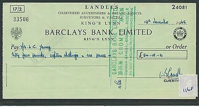 wbc. - CHEQUE - CH1168- USED -1965 - BARCLAYS BANK, KING'S LYNN