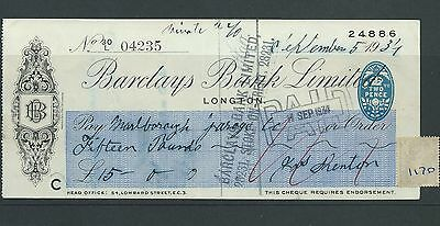 wbc. - CHEQUE - CH1170- USED -1934 - BARCLAYS BANK, LONGTON