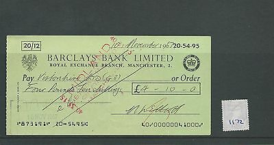 wbc. - CHEQUE - CH1172- USED -1967 - BARCLAYS BANK, ROYAL EXCHANGE, MANCHESTER