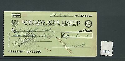 wbc. - CHEQUE - CH1173- USED -1967 - BARCLAYS BANK, WHITWORTH ST, MANCHESTER