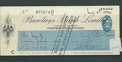 wbc. - CHEQUE - CH1177- USED -1940 - BARCLAYS BANK, PETERBOROUGH