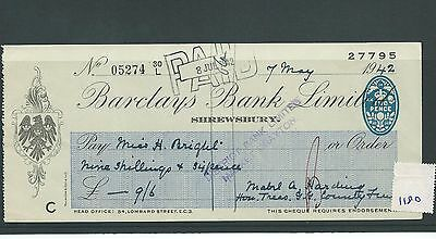 wbc. - CHEQUE - CH1180- USED -1942 - BARCLAYS BANK, SHREWSBURY