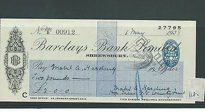 wbc. - CHEQUE - CH1181- USED -1938 - BARCLAYS BANK, SHREWSBURY