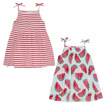 Girls Watermelon Candy Stripe Bandeau Summer Dress Sleeveless Cami Tunic Outfit