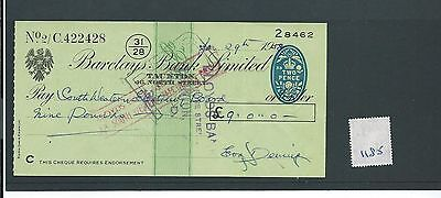 wbc. - CHEQUE - CH1185- USED -1958/59 - BARCLAYS BANK, NORTH ST.TAUNTON