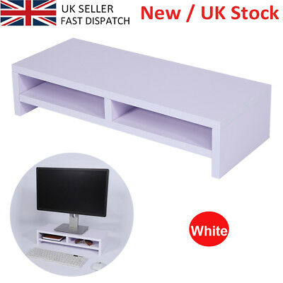 Quality White Desktop Monitor Stand Computer LCD Laptop Screen Riser Shelf New