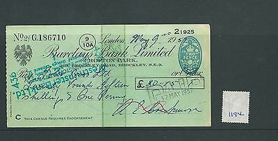 wbc. - CHEQUE - CH1194- USED -1951- BARCLAYS BANK, CROFTON PARK, LONDON SE4