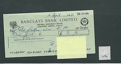 wbc. - CHEQUE - CH1196- USED -1971- BARCLAYS BANK, GOLDERS GREEN, LONDON NW11