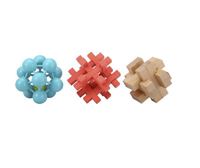 Wooden Puzzles Traditional Learning Educational Toy Kids Intelligence Set of 3