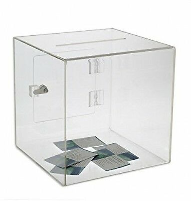Source One Premium Acrylic Cube Donation Box With Deluxe Rear Open Door And Cam