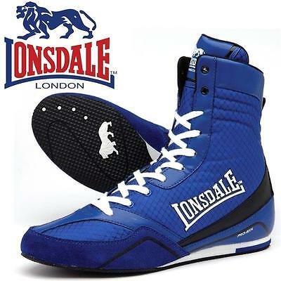 new LONSDALE QUICK 3 MENS BLUE WHITE BOXING TRAINING SPARRING BOOTS