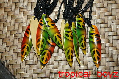 10 Airbrushed Handmade Surfboard RASTA PEACE Wood Cotton Necklaces Wholesale
