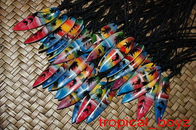 10 MIXED Airbrushed Surfboard Dolphin Hawaii Wood Cotton Necklaces Wholesale