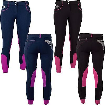 Red Horse Equestrian Girls Kids Selena Elastico Contrast Stitched Rider Breeches