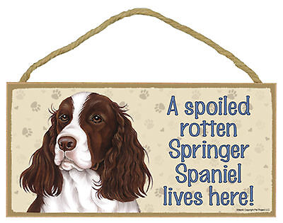 A spoiled rotten Springer Spaniel lives here! Wood Puppy Dog Sign Made in USA