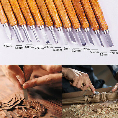 12pcs Wood Carving Chisels Tool Knife Woodcut Woodworking Craft Kit