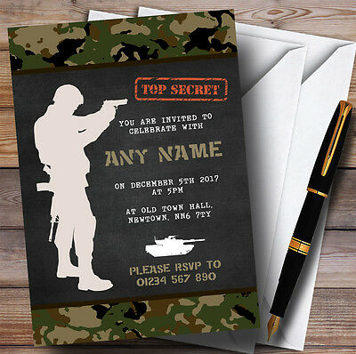 Shooting Soldier Army Camouflage Childrens Birthday Party Invitations