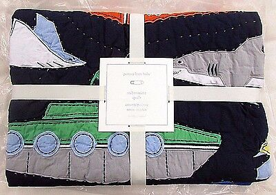 Pottery Barn Kids Nursery Submarine Madras Boys Crib Toddler Quilt, Sharks Fish