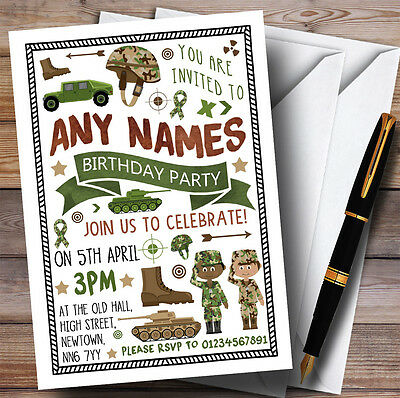 Camouflage Army Soldier Childrens Birthday Party Invitations