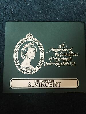 Folder Of St. Vincent 4 MMH Stamp Sheets 25th Anniversary Of The Coronation
