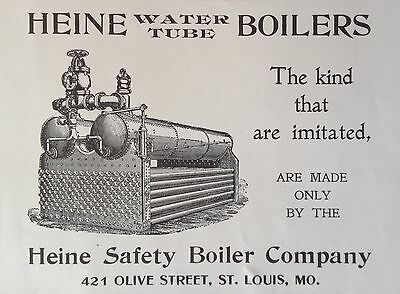 Antique 1904 Ad(F10)~Heine Safety Boiler Co. St. Louis, Mo. Water Tube Boilers