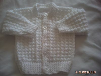 Hand Knitted White Baby Cardigan Size 0-3 Months.