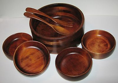 Vintage Baribocraft Canada Wood Salad Bowl Set ( 1 Large - 4 Small ) utensils