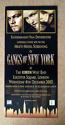 GANGS OF NEW YORK DICAPRIO Collectable and Rare Movie Ticket Film Cinema 210X99