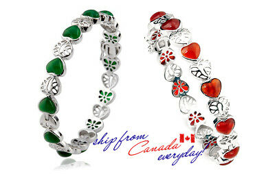 Agate Gemstone/Precious Stone Heart Shaped S925 Sterling Silver Bangle Bracelet