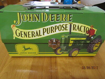 Tin Box Company John Deere Decorative Lunch Box Fold Back Lid Tractor Wrench