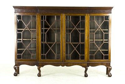 B478 Large Antique Scottish Edwardian Mahogany Four Door Bookcase, China Cabinet
