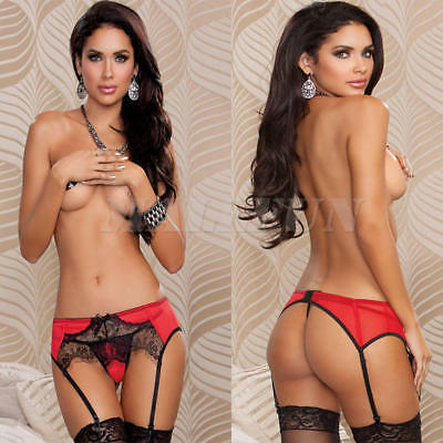 Women Lady lace Stocking Holder Garter Belt Suspender Clipper G-string Thongs