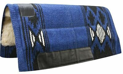 """32""""x34"""" BLUE Wool Top Western Cutter Style Saddle Pad w/ Navajo Design! NEW!!"""