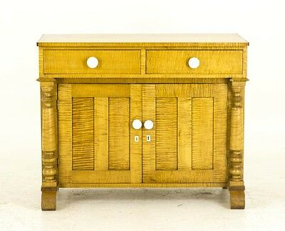 Antique French Canadian Tiger Stripe Maple Washstand, Dry Sink, Commode, B692