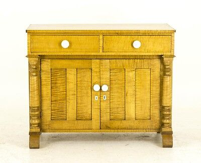 B692 Antique French Canadian Tiger Stripe Maple Washstand, Dry Sink, Commode