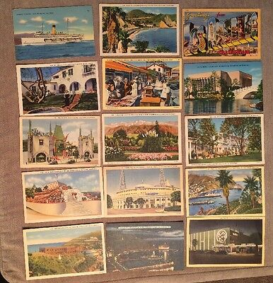 Post Cards California Lot Of 15 From 1930's & 1940's Five With Stamps