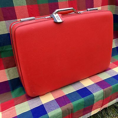 "Vintage 24"" American Tourister Cherry Red Hard Shell Suitcase / Luggage Prop 1"