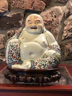 Antique Chinese Famille Rose Porcelin Buddha