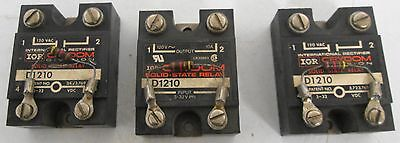 (3) Crydom D1210  3-32VDC Input, 120VAC Output Solid State Relay
