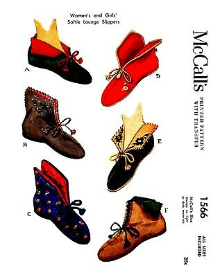 Slippers  Vintage McCall's Lounge Slippers Fabric Material Sewing Pattern  #1566